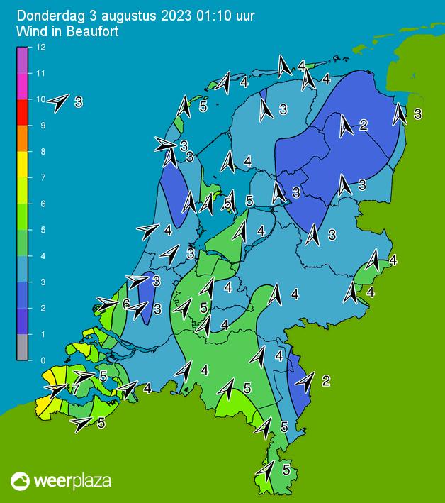 Nederland - Actuele Windsnelheid