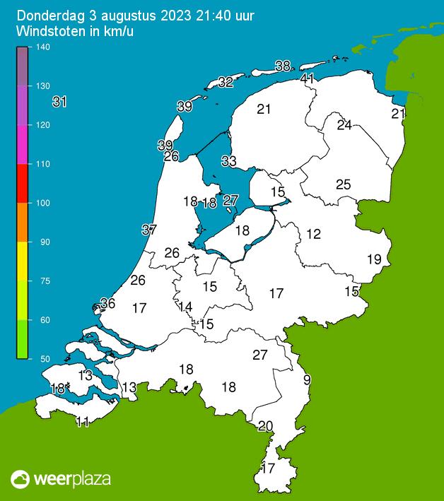 Nederland - Actuele Windstoten